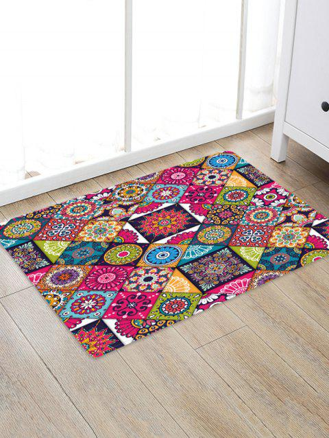 Non-Slip Quick Dry Patchwork Pattern Floor Pad Rug - FIREBRICK W16 X L24 INCH