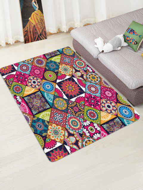 Non-Slip Quick Dry Patchwork Pattern Floor Pad Rug - FIREBRICK W47 X L63 INCH