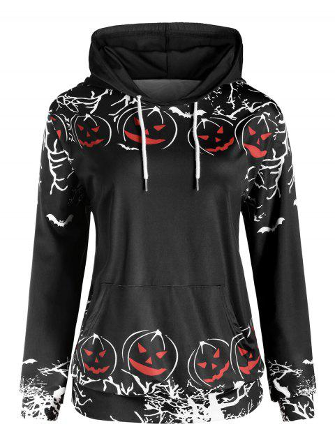 Plus Size Tunic Pocket Printed Hoodie - BLACK 4X