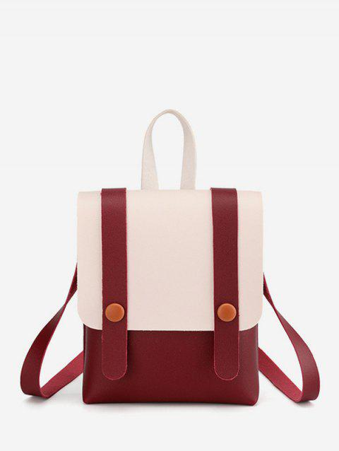 Contrast Strap Accent Flap PU Backpack - RED WINE