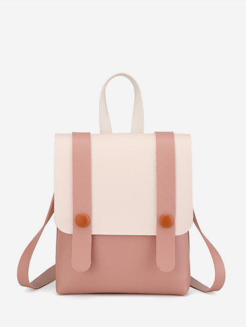 Contrast Strap Accent Flap PU Backpack - PIG PINK