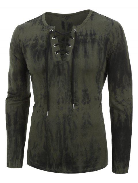 Tie Dye Print Long Sleeve Lace-up T-shirt - ARMY GREEN M