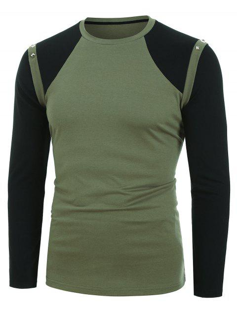 Long Sleeve Rivet Embellished Contrast T-shirt - ARMY GREEN M