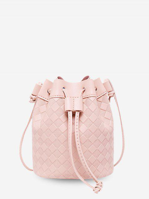 Embossed Checkered Crossbody Bucket Bag - PIG PINK