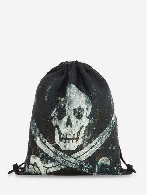 Drawstring Halloween Gothic Backpack - BLACK
