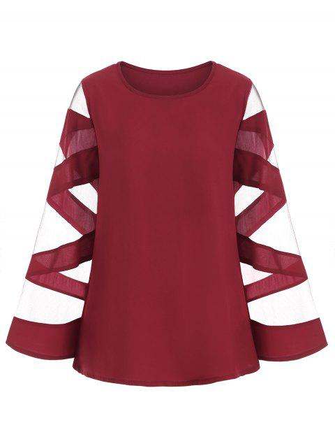 Mesh Panel Long Sleeves Blouse - RED WINE 2XL