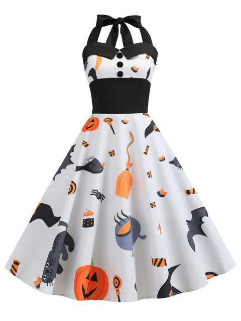 Ghost Pumpkin Buttons Halloween Halter Dress - WHITE 2XL