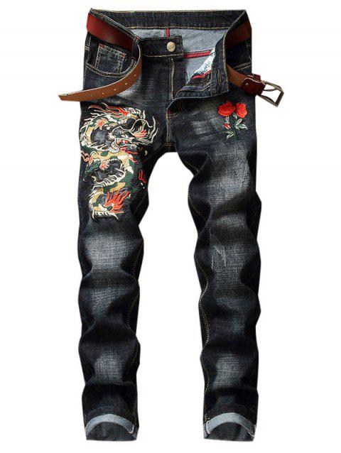 Dragon Flower Pattern Embroidered Zip Fly Jeans - BLACK 36