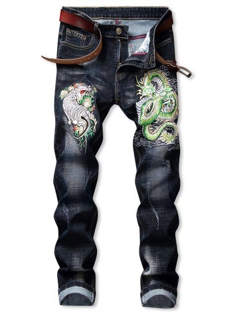 Tiger Dragon Pattern Embroidered Zip Fly Jeans - BLACK 38