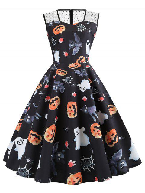 Mesh Panel Pumpkin Ghost Bat Sleeveless Halloween Dress - BLACK 2XL