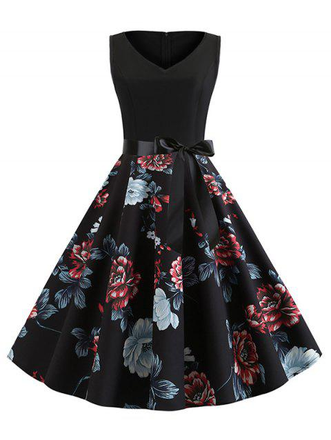 Floral Print V Neck Belted A Line Dress - BLACK XL