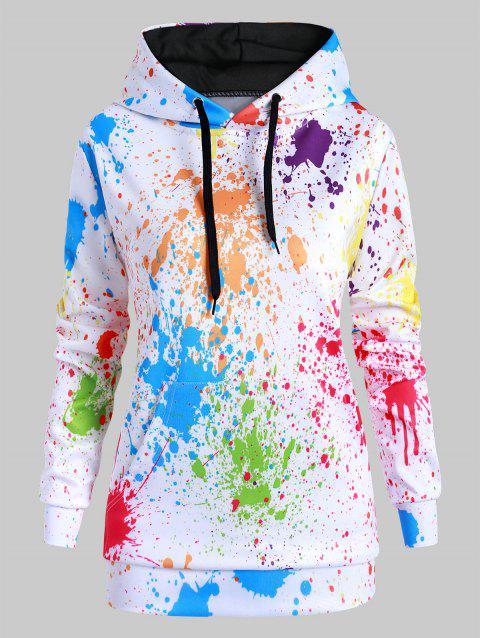 Rainbow Paint Splatter Front Pocket Drawstring Plus Size Hoodie - Blanc 4X
