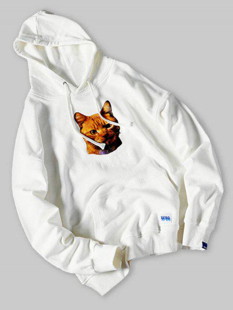 Plus Size Kangaroo Pocket Cat and Letter Print Drawstring Hoodie - MILK WHITE 5XL
