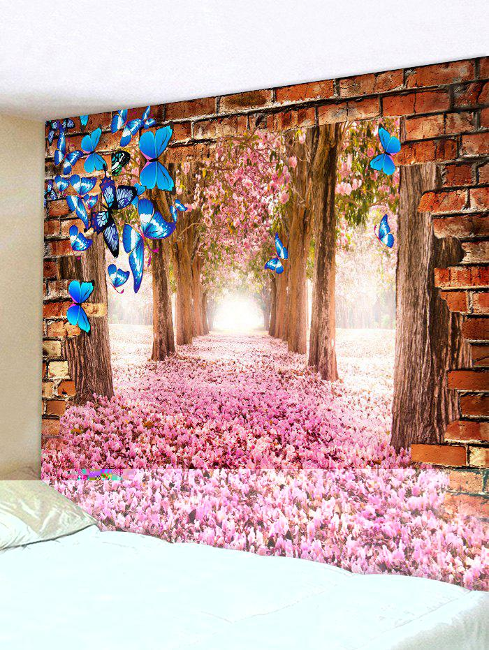 Butterfly and Flower Forest Print Tapestry Wall Hanging Art Decoration - HOT PINK W91 X L71 INCH