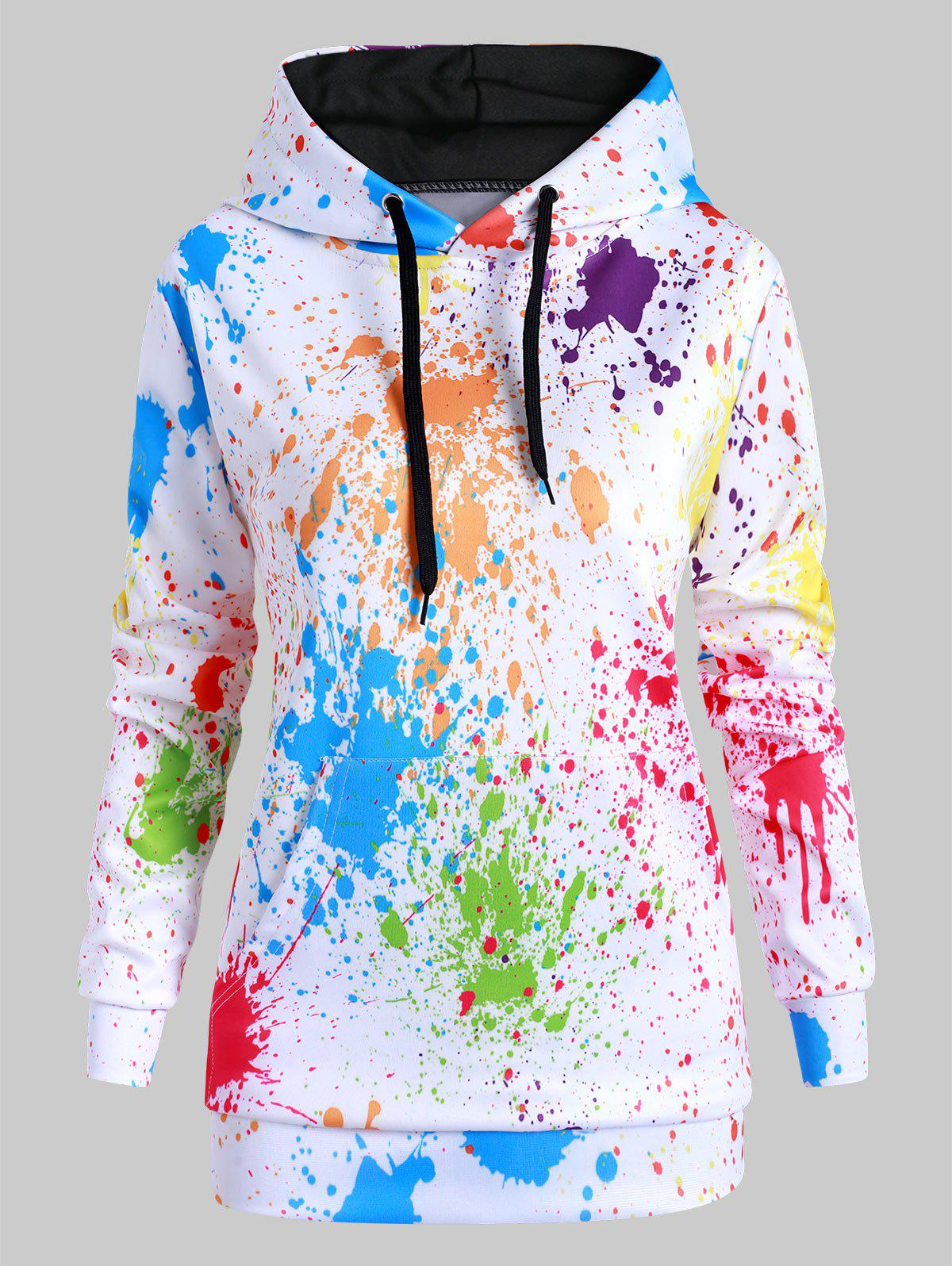 Rainbow Paint Splatter Front Pocket Drawstring Plus Size Hoodie - WHITE 2X