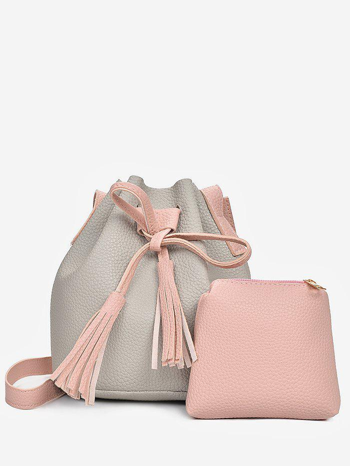 2 in 1 Faux Leather Two Tone Bucket Bag