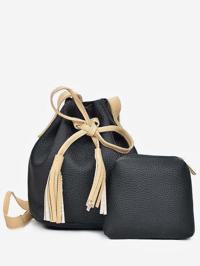2 in 1 Faux Leather Two Tone Bucket Bag - BLACK