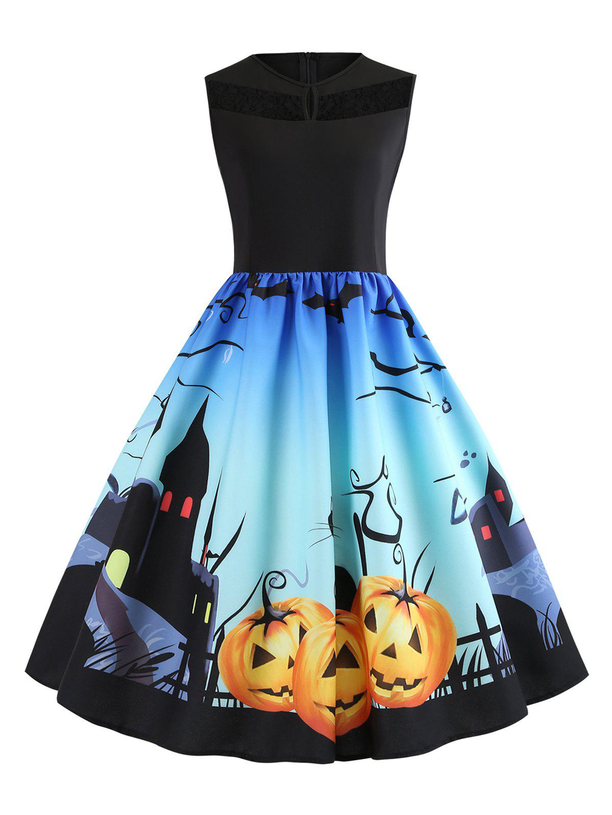 Lace Panel Bat Pumpkin Ombre Halloween Dress - multicolor XL