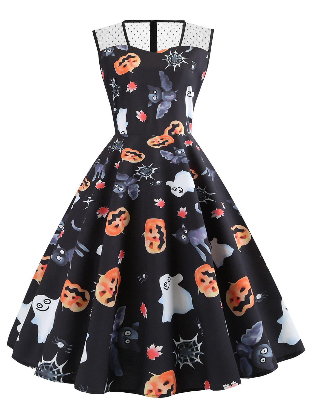 Mesh Panel Pumpkin Ghost Bat Sleeveless Halloween Dress - BLACK M