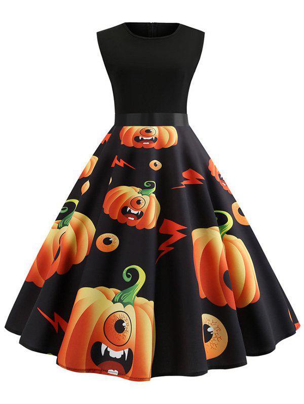 Pumpkin Print Belted Sleeveless Halloween Dress - multicolor L
