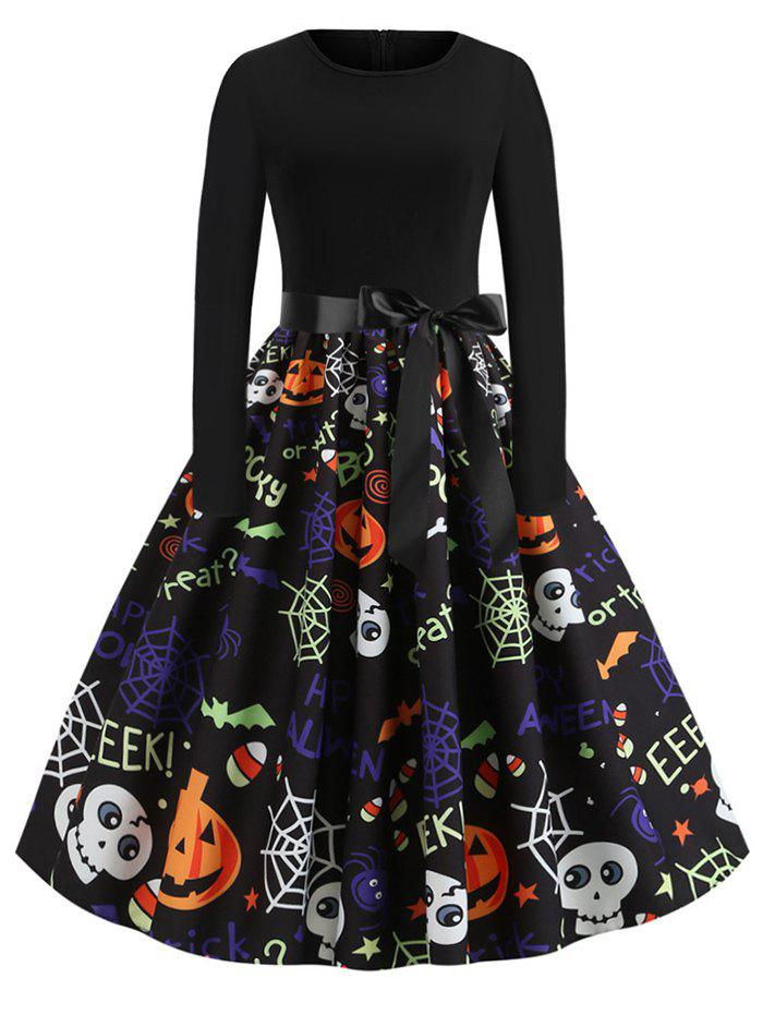 Pumpkin Skull Spiders Belted Flared Halloween Dress - BLACK S