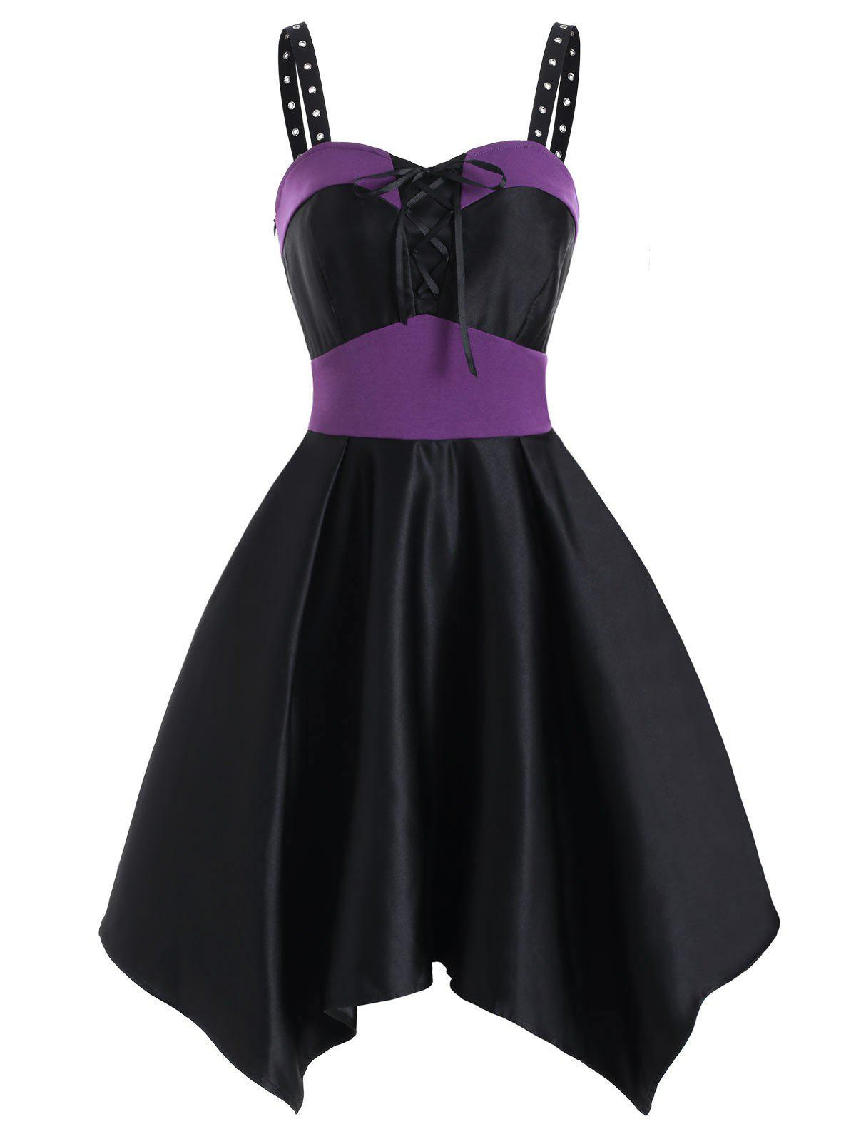 Gothic Color Block Lace Up Handkerchief Dress - DARK ORCHID L