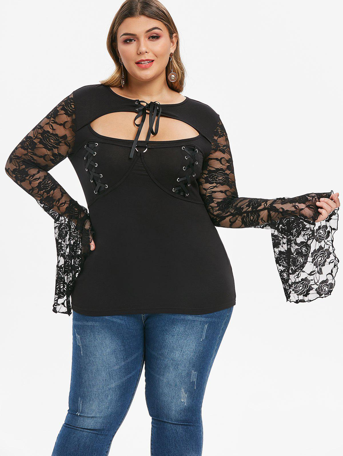 Plus Size Lace Up Cutout Gothic Bell Sleeve Tee