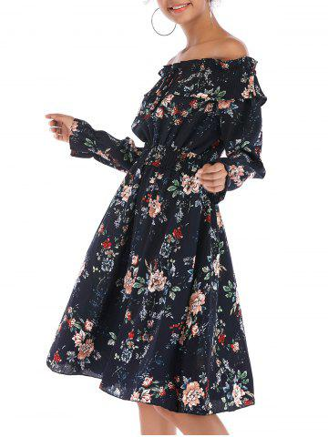 Floral Off Shoulder Smocked Pleated Poet Sleeve Dress
