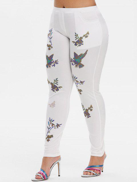 Mid Rise Leaves Floral Skinny Plus Size Pants - WHITE 3X