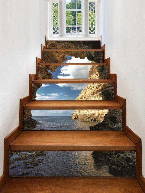 3D Cliff Side Waterproof Stair Sticks - multicolor A 6PCS X 39 X 7 INCH( NO FRAME )