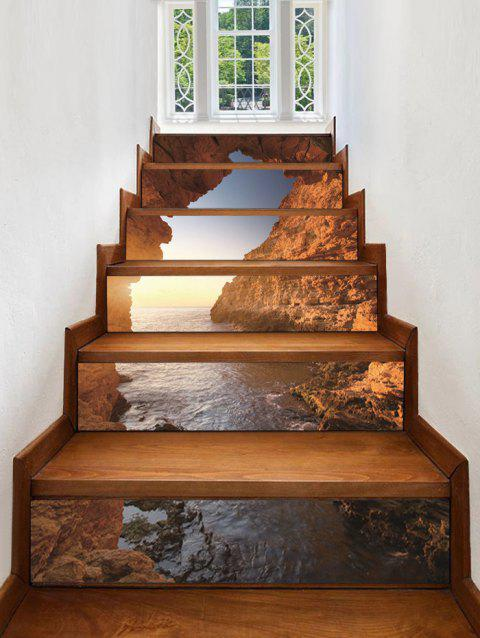 3D Seaside Cliff Waterproof Stair Sticks - multicolor A