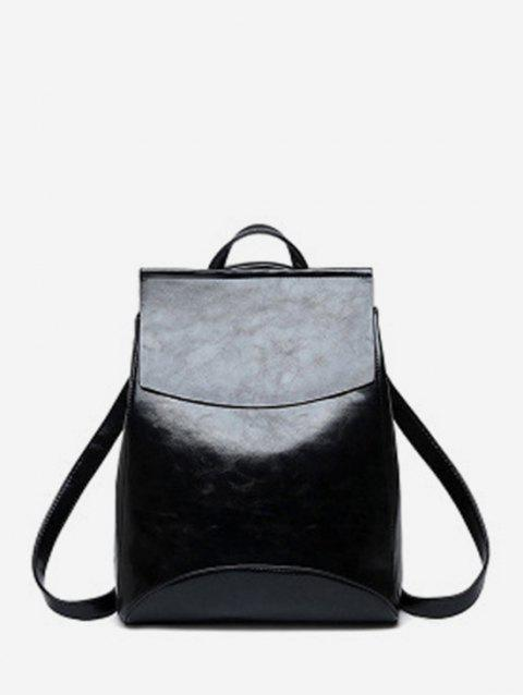 Simple Flap PU Leather College Backpack - BLACK