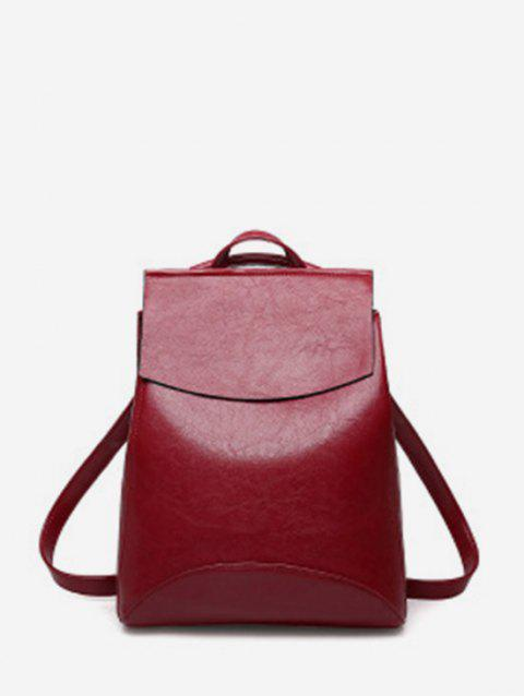 Simple Flap PU Leather College Backpack - RED WINE
