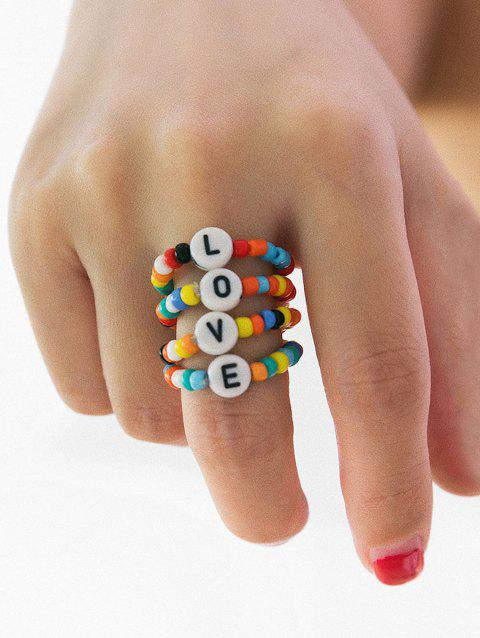 Colored Beaded Letter Design Ring Set - multicolor A