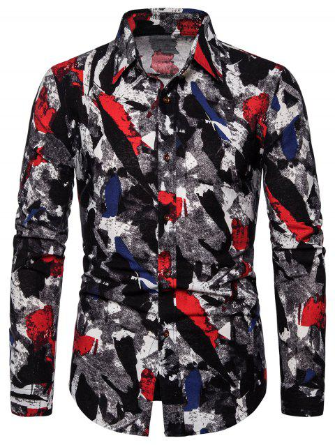 Long Sleeve Curved Hem Abstract Print Casual Shirt - multicolor M