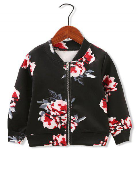 Girls Floral Print Stand Collar Jacket - BLACK 90