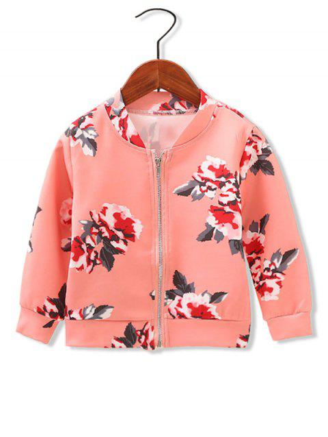 Girls Floral Print Stand Collar Jacket - RED 110