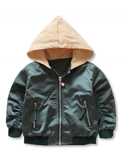 Girls Floral Sequins Zip Up Hooded Blouson Jacket - ARMY GREEN 90