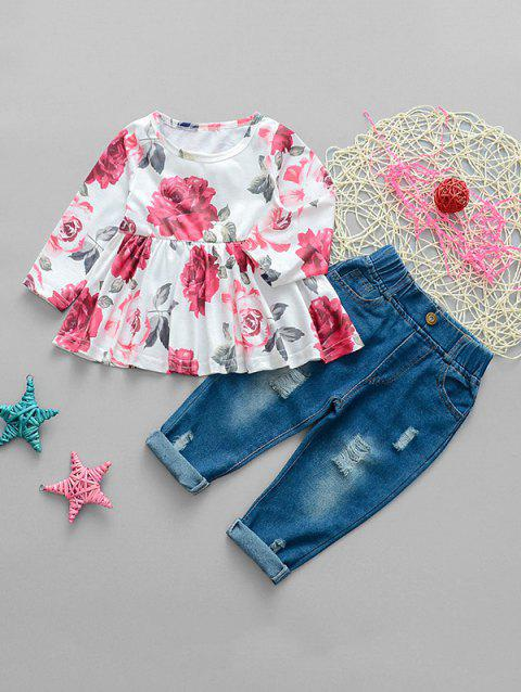 Girls Flower Top And Distressed Elastic Waist Jeans - RED 100