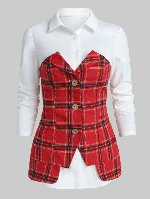 Button Tunic Checked Panel T Shirt - CHERRY RED XL