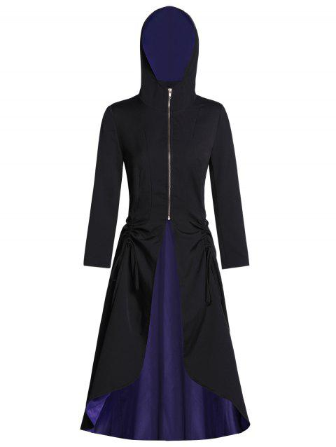 Hooded Zip Front Lace Up Two Tone Halloween Coat