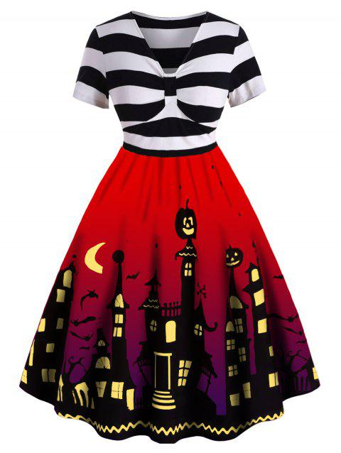 Plus Size Striped Halloween Flare Dress - RED L