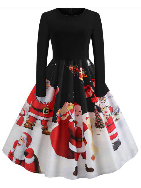 Christmas Santa Claus Print Long Sleeve Dress - BLACK XL
