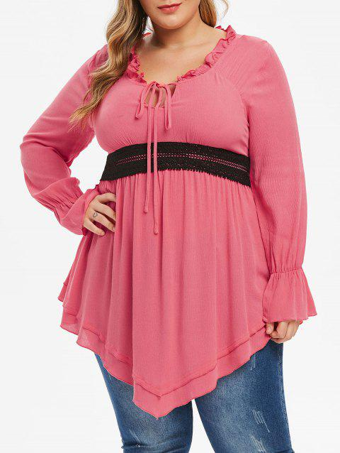 Plus Size Ruffled Tied Contrast Lace Blouse - PINK 5X