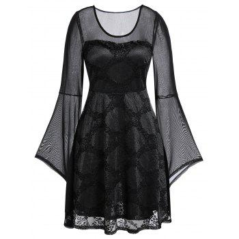 Plus Size Lace Mesh Sheer Bell Sleeve Dress