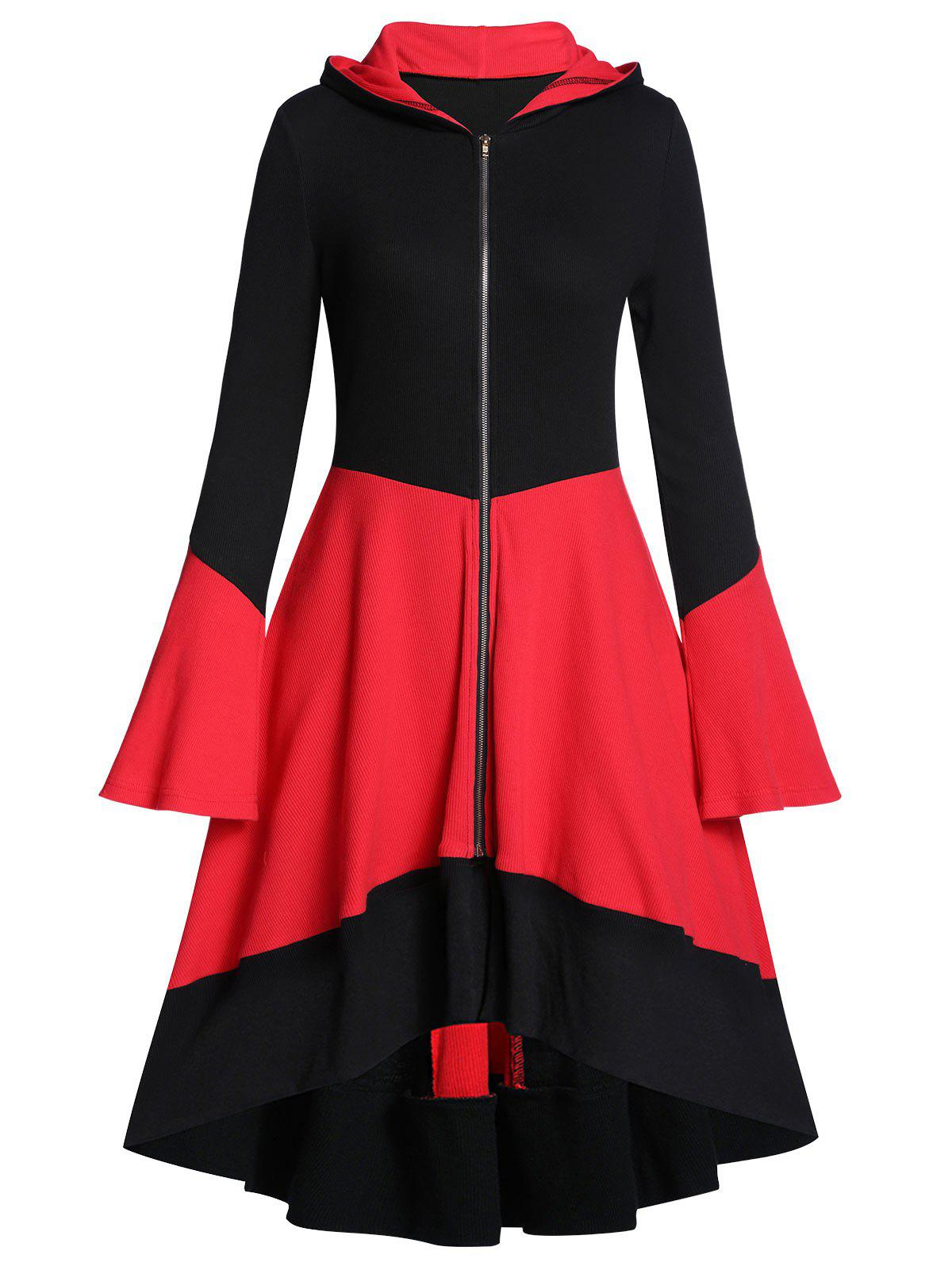 Hooded Two Tone Ribbed A Line Flare Sleeve Coat - multicolor A L