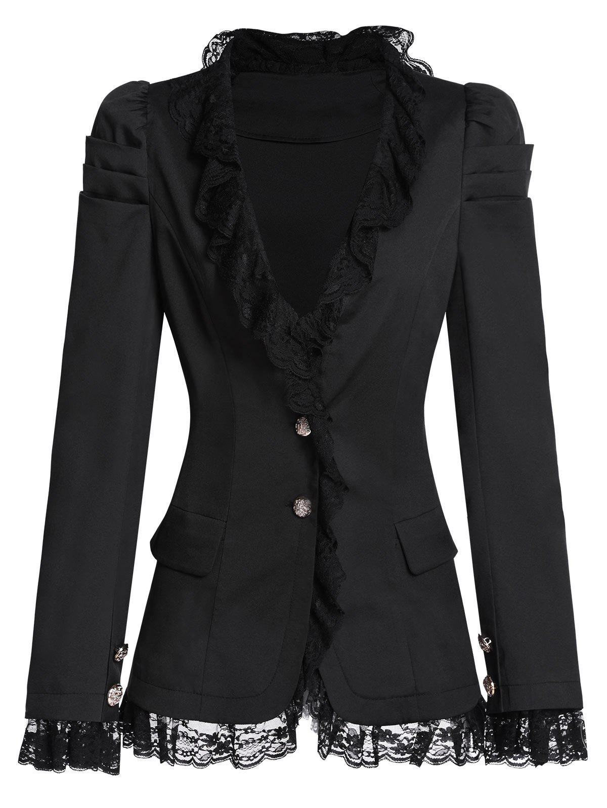 Lace Ruffled Two Button Lace Up Blazer Jacket - BLACK L