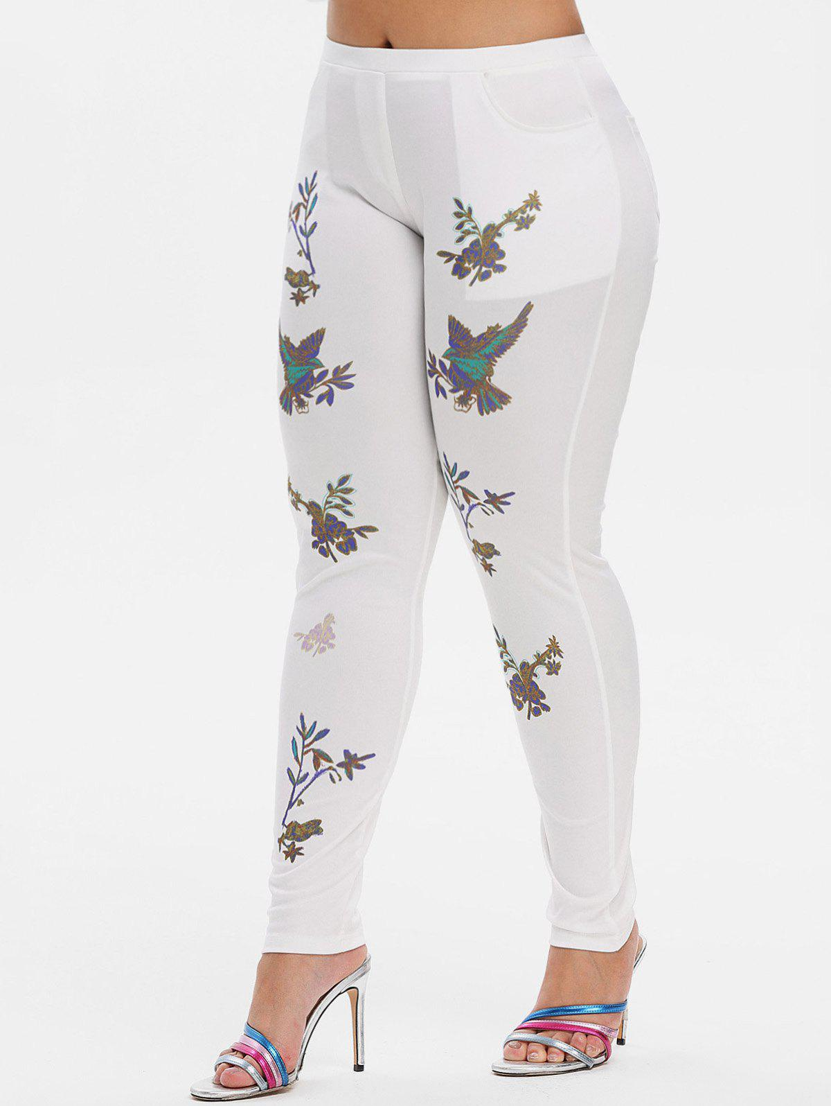 Mid Rise Leaves Floral Skinny Plus Size Pants - WHITE L