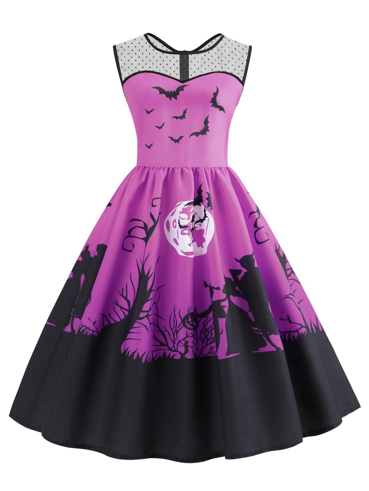 Mesh Panel Bat Print Flared Halloween Dress - DARK CARNATION PINK S