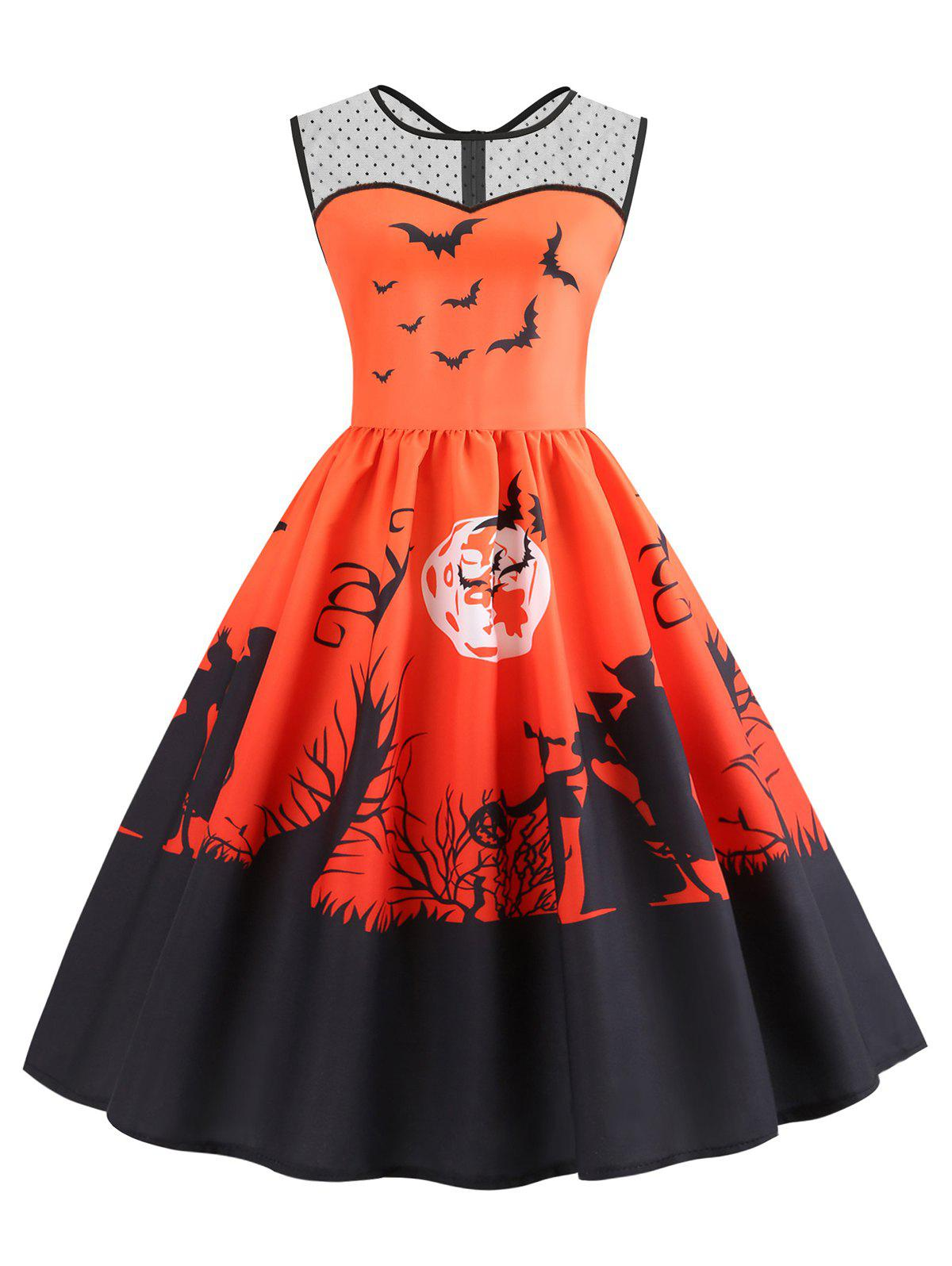 Mesh Panel Bat Print Flared Halloween Dress
